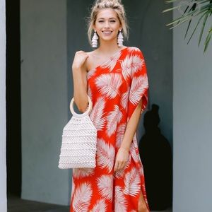 One-Shoulder Tropical Maxi -Red Dress Boutique 🌴